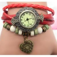Leather Wrap Double Heart Pendant Bracelet Watch for Ladies Watch