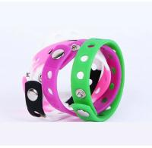 China Promotional holes style  adjustable  bracelets ,  Colored Rubber Bracelets Metal Button wholesale