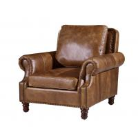 China Vintage Brown High Back Leather Armchair , Tall Back Living Room ChairsStrong Linen wholesale