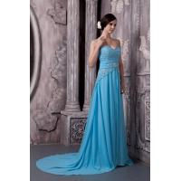 China Luxury Sweetheart Strapless A-line Chiffon Evening Dress Blue Long Party Gowns With Beads wholesale
