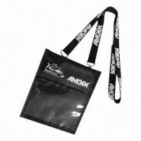 China Badge holder with lanyard, polyester/PVC materials and silkscreen printed logo on sale