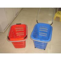 China Folding Virgin Plastic Rolling Hand Basket With Wheels / Recycle Shopping Basket wholesale