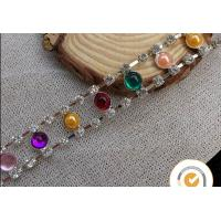 China Decorative colourful beautiful rhinestones chain brass cup cahin for garment, pearl and rhinestone trimmings wholesale wholesale