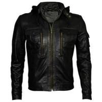 China size 50 XL fitted hooded vintage black leather jackets for men single lining on sale