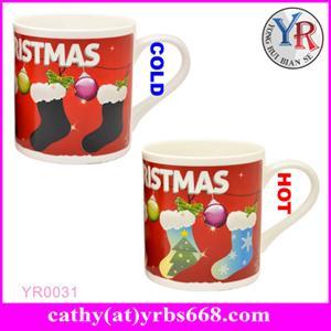 China 11oz Magic Color Changing porcelain Coffee Mug Heat Sensitive Ceramic Mug on sale