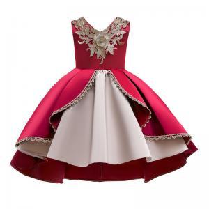 China V-Neck Flower Girl Dress Champagne Lace Princess Dress Vestidos De Ropa Niña Sleeveless Christmas Dress Red/Blue/Purple wholesale