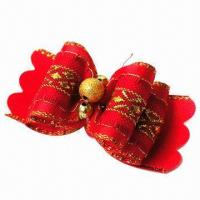 China Pet Hair Clip, Made of Ribbon and Pearls, Available in Red and Gold Colors on sale