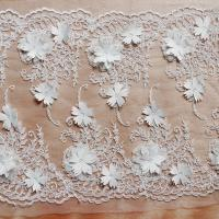 China Beautiful White 3D Flower Lace Fabric , Double Edge Alencon Beaded Lace Fabric wholesale