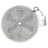 China Stainless Steel 316 Wire Mesh Curtain Cast Iron Pan Chainmail Scrubber Round Shape on sale