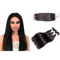 China Comfortable Silky Straight Human Hair Weave With Lace Closure 10-30 Inch on sale