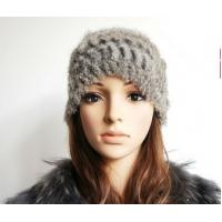 China Woman knitted rabbit fur hat wholesale