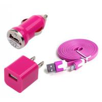 China USB Home AC Wall charger+Car Charger+8 Pin Sync USB Cord for iPhone 5 5S 5C 5G Pink wholesale