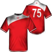 China Red Short Sleeve Football Shirts Sportswear, Sublimation Soccer Jersey Team Uniforms on sale