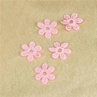 China Pink Satin Ultrasonic Embossing Flowers Crafts Party Decoration Cloth Appliques wholesale