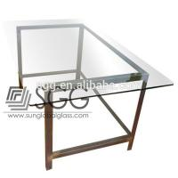 China toughened tempered glass used for modern glass top office table design wholesale