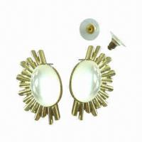 China Texture Casting Opal Stone Stud Earrings wholesale