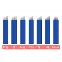 China 12, 13, 14, 16, 17, 18 and 18U Blue Microblading Disposable and Sterile Tattoo Needles wholesale