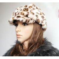 China Leopard Pattern Mink Fur Hats Caps wholesale