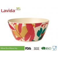 China Decal Bamboo Mixing Bowl Set 7-PC High Temperature Tolerance With Fork Spoon wholesale