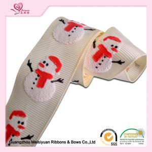 "China 1"" White Grosgrain Ribbon / White Snowman Polyester Grosgrain Ribbon For Holiday wholesale"