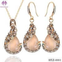 China Fashion Opal peacock Jewelry Sets rhinesstone peacock necklace earrings wholesale