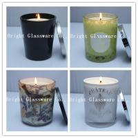 China Solid Black Glass Candle Holder , Candle Jar With Lid Cover wholesale
