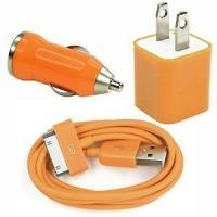 China USB AC Wall Charger and Car Charger+Data Cable for Apple iPod Touch or iPhone4 4S 4G Orang wholesale