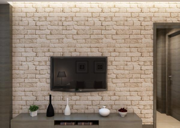 Quality Removable Chinese Style 3D Brick Effect Wallpaper with White Grey Color , CSA standard for sale