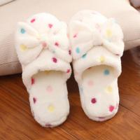 China Lovely Winter Indoor Slippers , Bow Plush Slides Girls Winter Slippers wholesale