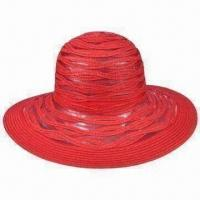 China New Style Two Tones Red Fedora Straw Hat wholesale