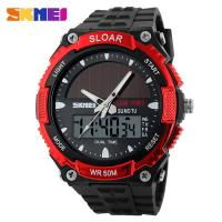 China Red Mens Digital Watches Depth Waterproof 5 ATM Japan Movement Solar Power wholesale