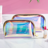 China Wholesale Waterproof TPU Holographic Zipper Clear Cosmetic Bag wholesale
