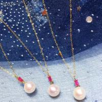 China Ruby Gemstone Gold Jewelry Pendant Chain Necklace With Freshwater Pearls wholesale