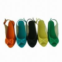 China Peep Toe Wedge Shoes for Women, with Canvas Upper, TPR Outsole and 1000 Pairs MOQ/Color wholesale