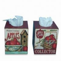 Tissue Boxes in Apple Design, Made of Wood, Measures 12.7 x 12.7 x 15.5cm