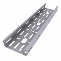 China Enamel Paint Ventilated Cable Tray Corrosion Resistant Smooth Edges Grey Color wholesale