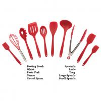 China Customized Logo Print Silicone Kitchen Utensils Soft Food Grade Safe Colorful Red Color wholesale