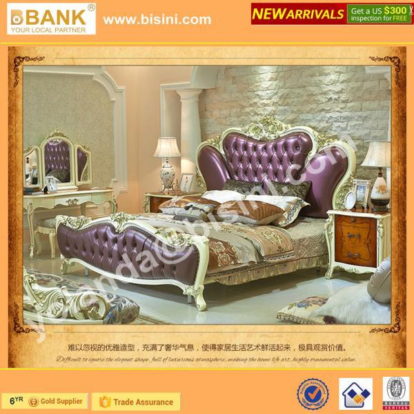 Quality (BK0109-0002)Luxury Elegent Princess Bed,Wooden Hand Carved Fancy Classical Bedroom Furniture Set, Violet Wedding Bed for sale