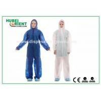 China Nonwoven White Disposable Overalls PP / SMS / PP + PE Protective Coverall With Hood wholesale