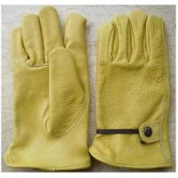 China 9 - 11 inch adjustable band Golden Yellow Cow Grain Leather Driving Gloves / Glove 12205 wholesale