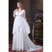 China Pretty Ivory A Line Chiffon Ladies Plus Size Designer Wedding Gowns with Beaded wholesale