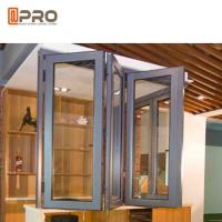 China Wind Proof Aluminum Bifold Windows Color Optional With Insulated Double Glass on sale