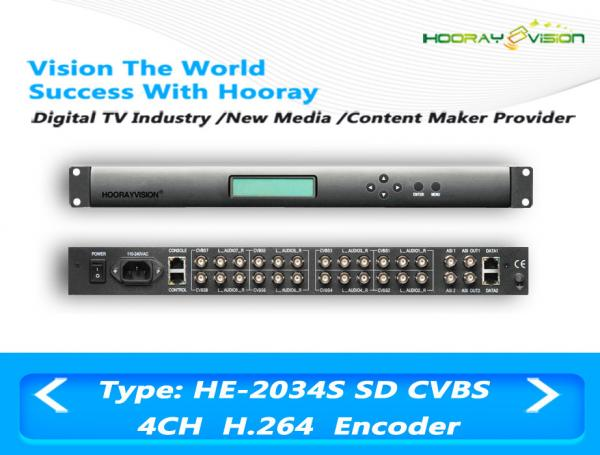 Quality Low Bit Rate 4 Channel Encoder SD H.264 CVBS Input BNC Female Connector for sale