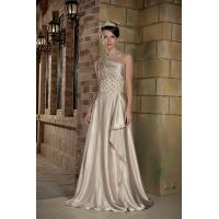 China Cheap One Shoulder A-line Long Evening Dress Party Dresses Online With Beads wholesale