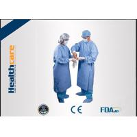 Water Resistant Disposable Surgical Gowns SMS Standard Medical Blue With Knitted Cuff