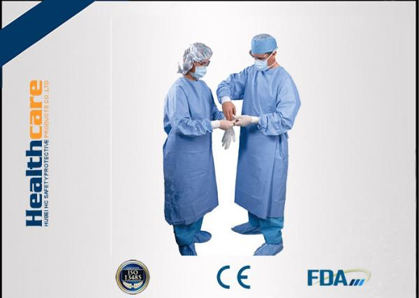 Quality Water Resistant Disposable Surgical Gowns SMS Standard Medical Blue With Knitted Cuff for sale