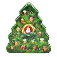 China Christmas tree shape candy / chocolate metal tin can, tin box for Christmas on sale