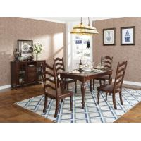 China Rubber Wood Home dining room furniture Long and round dining table with 4/6 people Chair can by Upholstered cushion seat wholesale