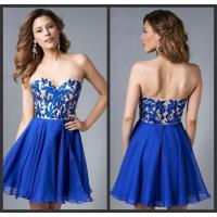 China Unique Short Blue Homecoming Dresses with Leaf Embroidery for Juniors wholesale