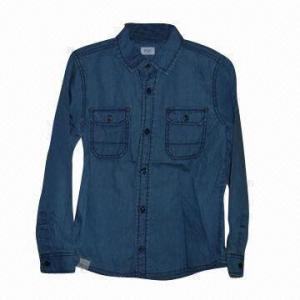 China Boys denim shirt, soft hand texture wholesale
